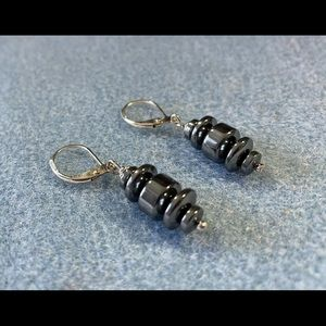 Hematite leverback earrings